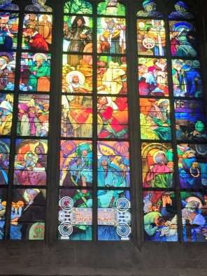 an example of the stained glass inside the cathedral